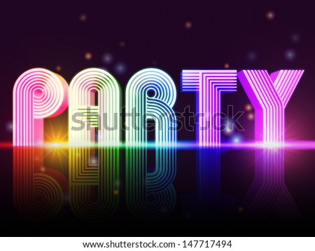Party �¢?? retro poster with text and lights - stock photo