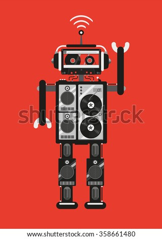 Party robot. The robot consists of audio equipment. Retro futuristic style. Template for party posters. - stock photo