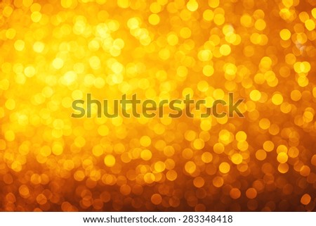 Party soft warm bright golden lights bokeh background - stock photo