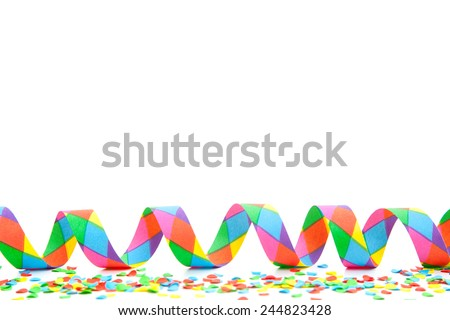 Party streamer with confetti background concept - stock photo