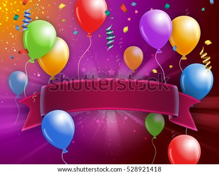 Party themed card design with balloons and an empty banner. Digital illustration.