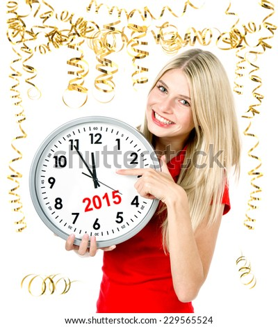party time 2015. five to twelve. young beautiful woman with big clock and party decoration - stock photo