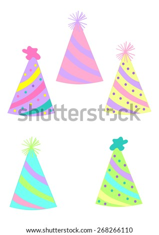 Party Time Party Hats Party hat illustrations - stock photo