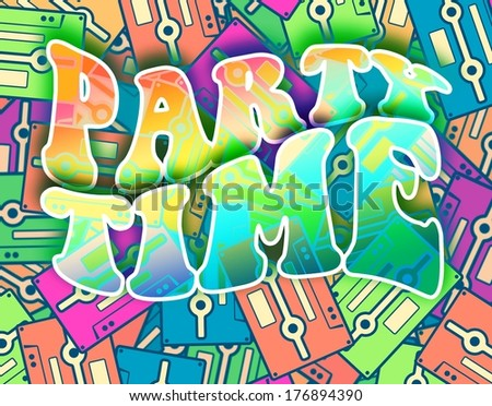 Party time retro concept. Vintage poster design - stock photo