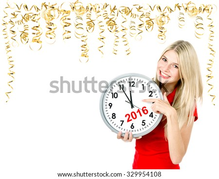 Party time. Save the date. Five to twelve. Young beautiful woman with big clock and golden streamer. Space for your text - stock photo