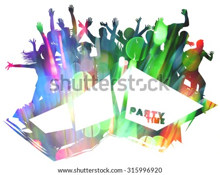 Party Time Silhouette and bokeh design with double exposure effect - stock photo