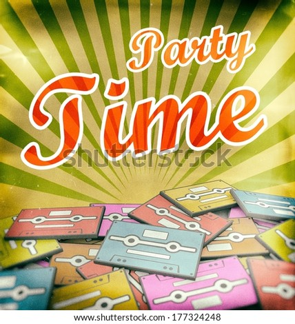 Party time vintage poster design. Retro concept on old cassettes - stock photo