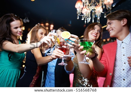Party toast in club