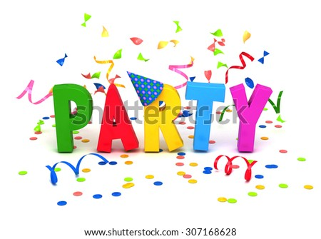 Party word with confetti on white background.