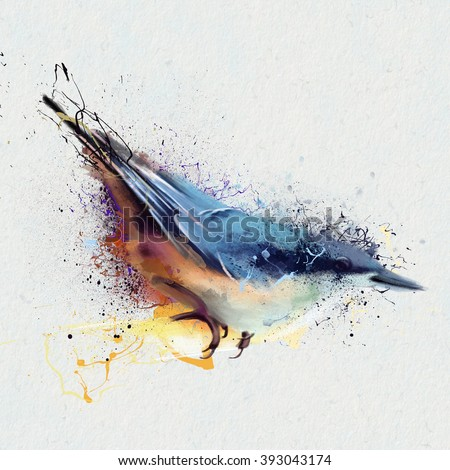 Parus major. Watercolor illustration Tits, closeup on a white background, with elements of the sketch and spray paint, as illustration for the cover of a notebook or Notepad, or print for garment - stock photo