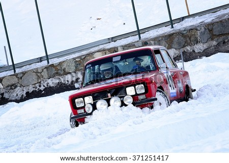 PAS DE LA CASA, ANDORRA - DEC 19 : Spanish driver Juli Urena and his codriver Angel Irraberri in a Seat 1430 race in the Andorra Winter Rally 2015, on Dec 19, 2015 in Pas de la Casa, Andorra.
