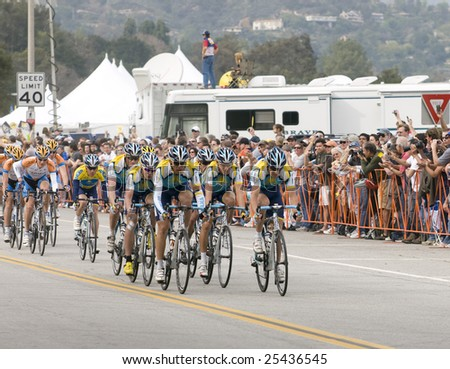 PASADENA, CA. - FEB 21: Levi Leipheimer and team Astana  lead the peloton around the 5 lap circuit around the Rose Bowl during stage 7 of the Amgen Tour of California February 21st 2009.
