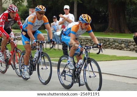 "PASADENA, CA - 21 FEBRUARY 2009: ""Amgen Tour of California"" is an annual professional eight-day cycling stage race. One of only three international-level races in US."