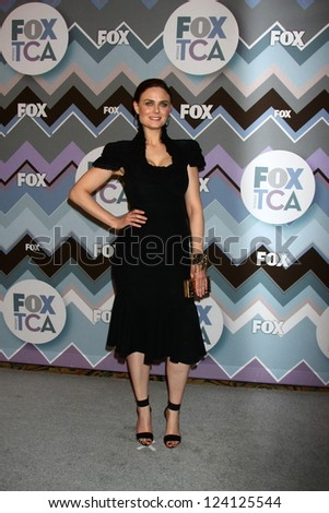 PASADENA, CA - JAN 8:  Emily Deschanel attends the FOX TV 2013 TCA Winter Press Tour at Langham Huntington Hotel on January 8, 2013 in Pasadena, CA - stock photo