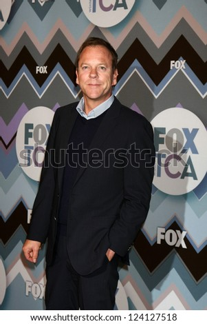 PASADENA, CA - JAN 8:  Kiefer Sutherland attends the FOX TV 2013 TCA Winter Press Tour at Langham Huntington Hotel on January 8, 2013 in Pasadena, CA - stock photo
