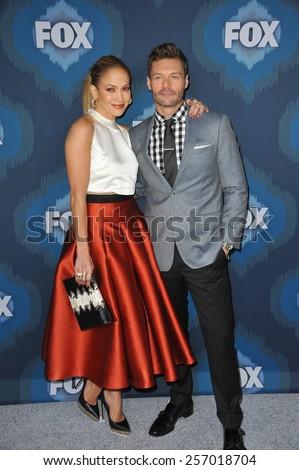 PASADENA, CA - JANUARY 17, 2015: Jennifer Lopez & Ryan Seacrest at the Fox Winter TCA 2015 All-Star Party at the Langham Huntington Hotel, Pasadena.  - stock photo