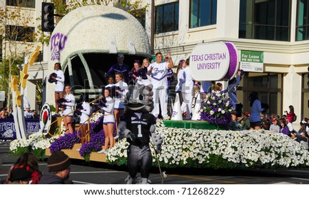 PASADENA, CA - JANUARY 1: The TCU Texas Christian University Float at 122nd tournament of roses Rose Parade on January 1, 2011. TCU wins the rose bowl game against wisconsin - stock photo
