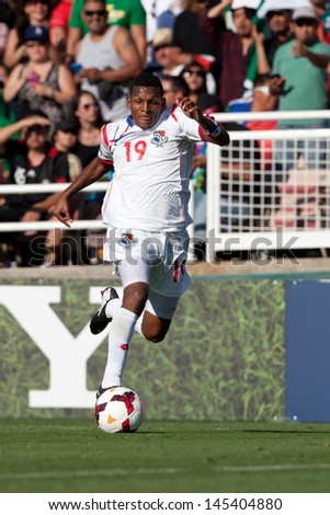 PASADENA, CA - JULY 7: Alberto Quintero #19 of Panama during the 2013 CONCACAF Gold Cup game between Mexico and Panama on July 7, 2013 at the Rose Bowl in Pasadena, Ca. - stock photo