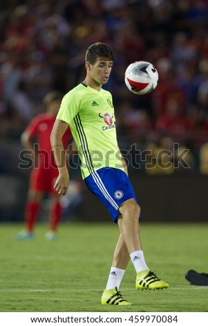 PASADENA, CA - JULY 27: Oscar during the 2016 ICC game between Chelsea & Liverpool on July 27th 2016 at the Rose Bowl in Pasadena, Ca.