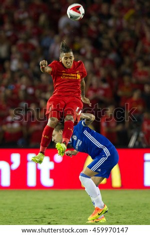 PASADENA, CA - JULY 27: Roberto Firmino & John Terry during the 2016 ICC game between Chelsea & Liverpool on July 27th 2016 at the Rose Bowl in Pasadena, Ca.