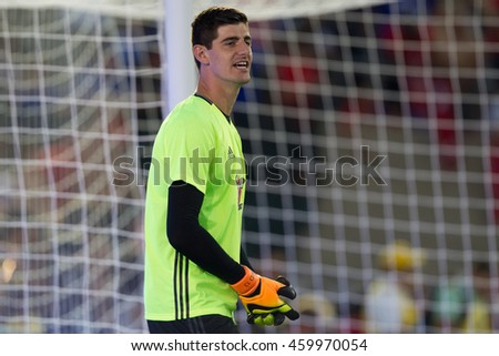 PASADENA, CA - JULY 27: Thibaut Courtois during the 2016 ICC game between Chelsea & Liverpool on July 27th 2016 at the Rose Bowl in Pasadena, Ca.