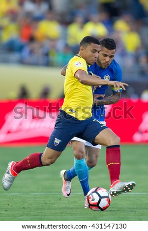 PASADENA, CA - JUNE 4: Dani Alves (R) & Jefferson Montero during the COPA America game between Brazil & Ecuador on June 4th 2016 at the Rose Bowl in Pasadena, Ca.
