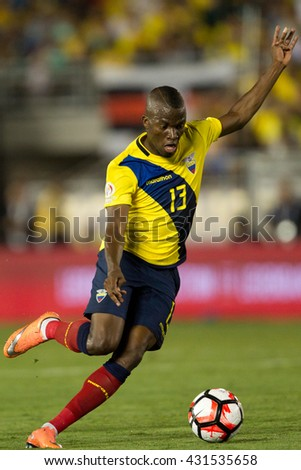PASADENA, CA - JUNE 4: Enner Valencia during the COPA America game between Brazil & Ecuador on June 4th 2016 at the Rose Bowl in Pasadena, Ca. - stock photo
