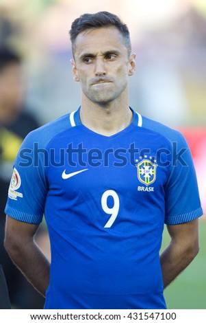 PASADENA, CA - JUNE 4: Jonas during the COPA America game between Brazil & Ecuador on June 4th 2016 at the Rose Bowl in Pasadena, Ca. - stock photo