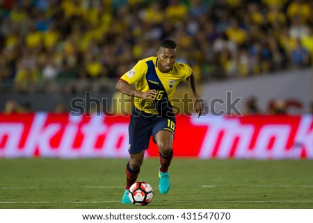 PASADENA, CA - JUNE 4: Luis Valencia during the COPA America game between Brazil & Ecuador on June 4th 2016 at the Rose Bowl in Pasadena, Ca. - stock photo