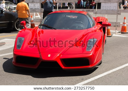 Pasadena, CA - USA - April 26, 2015: Ferrari Enzo car on display at the 8th Annual Ferrari Concorso car event - stock photo
