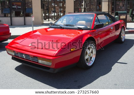 Pasadena, CA - USA - April 26, 2015: Ferrari Mondial T Cabriolet car on display at the 8th Annual Ferrari Concorso car event - stock photo