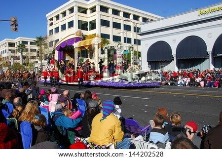 PASADENA, CA/USA - JANUARY 1: cunard line a grand celebration at sea float at the 122nd tournament of roses Rose Parade on January 1 2011 in Pasadena California - stock photo