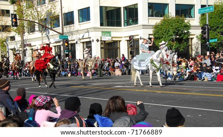 PASADENA, CA/USA - JANUARY 1: Martinez Family Horse Rider at the 122nd tournament of roses Rose Parade on January 1 2011 in Pasadena California