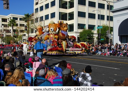 PASADENA, CA/USA - JANUARY 1: Rotary International Building Communities Bridging Continents Teddy Bear Float at the 122nd tournament of roses Rose Parade on January 1 2011 in Pasadena California - stock photo