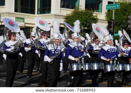 PASADENA, CA/USA - JANUARY 1: TCU Texas Christian University Frogs Band at the 122nd tournament of roses Rose Parade on January 1, 2011 in Pasadena California - stock photo