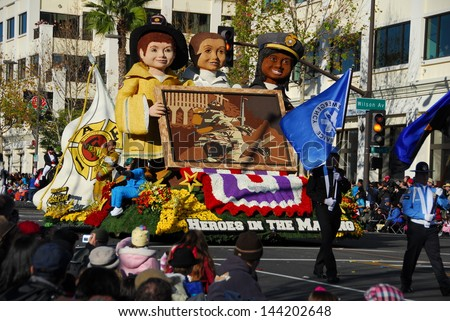 PASADENA, CA/USA - JANUARY 1: West Covina's  Heroes in the Making  Float at the 122nd tournament of roses Rose Parade on January 1 2011 in Pasadena California - stock photo