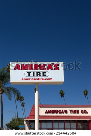 PASADENA, CA/USA - SEPTEMBER 1, 2014: America's Tire Sign. America's Tire, also known as Discount Tire, is a chain of automotive repair facilities. - stock photo