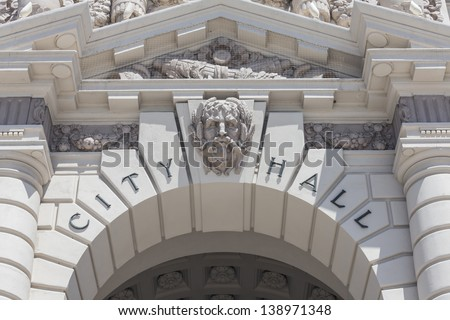 Pasadena City Hall building sign detail in southern California. - stock photo