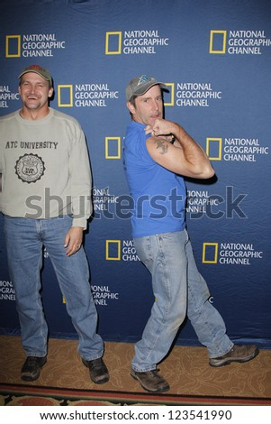 PASADENA - JAN 3: George Wyant, Tim Saylor of the show 'Diggers' at the National Geographic Channels TCA party on January 3, 2013 at the Langham Hotel in Pasadena, California - stock photo