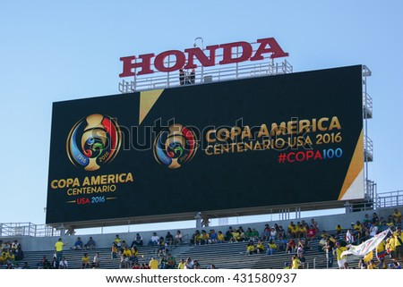 Pasadena, USA - June 04, 2016: Soccer Scoreboard during Copa America Centenario match Brazil vs Ecuador at the Rose Bowl Stadium.