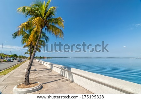 Paseo el Prado embankment of Carribean sea in Cienfuegos, Cuba - stock photo