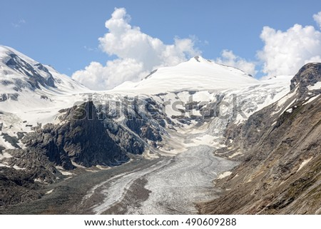 Paserze Glacier at Grossglocker mountain area with snow in summer time