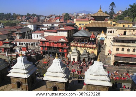 Pashupatinath Temple is Nepals most sacred Hindu shrine and one of the greatest Shiva sites, is located on the banks of the Bagmati River in the city of Kathmandu and is UNESCO World Heritage Site. - stock photo