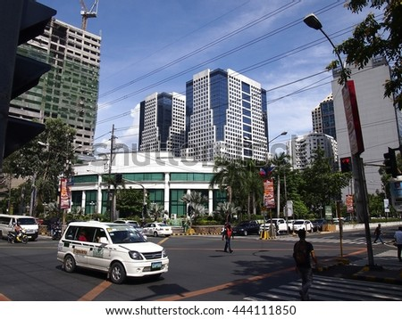 PASIG CITY, PHILIPPINES - JUNE 24, 2016: Commercial and residential buildings at the Ortigas Complex.