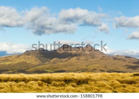 Pasochoa volcano, view from Iliniza volcano refugee, Ecuadorian Andes. - stock photo