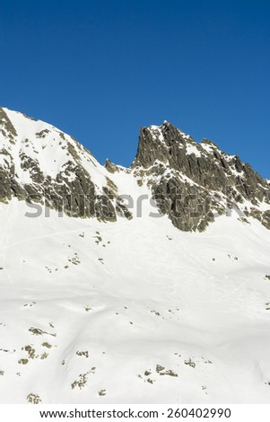 Pass in the Tatras which attracts skiers in the winter  - stock photo