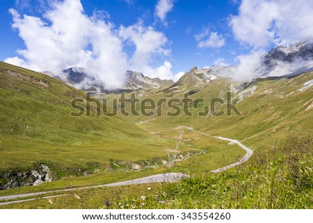 pass to Stelvio in the Alps of Italy - stock photo