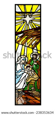 Passage of the birth of our Lord Jesus Christ. stained Glass - stock photo