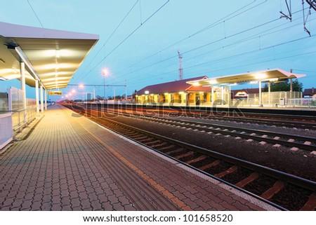 Passanger train station - stock photo