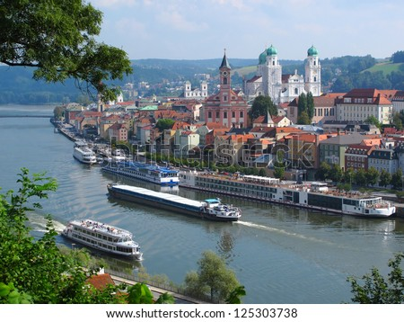 Passau, City of Three Rivers, Bavaria, Germany. - stock photo